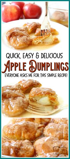 Easy Apple Dumplings recipe made with just a few ingredients- one apple, brown sugar, crescent dough & lemon lime soda! Simple recipe for apple dumplings in a sweet caramel-like glaze that tastes delicious. #apple #dumplings #dessert #apples #baking #recipe from BUTTER WITH A SIDE OF BREAD Apple Crescent Rolls, Crescent Dough, Crescent Roll Recipes, Crescent Roll Apple Dumplings, Cresent Rolls, Winter Desserts, Oreo Dessert, Dessert Bars, Recipes For Apples