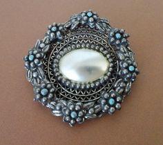 Art Nouveau Mother Of Pearl Brooch Antique by CrimsonVintique
