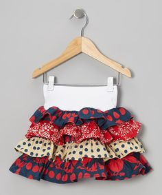 Take a look at this Red & Navy Spring Tiered Ruffle Skirt - Toddler & Girls by Young Colors on #zulily today!