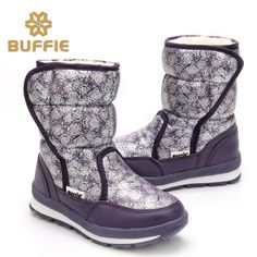 (29.40$)  Buy here - http://ai6xa.worlditems.win/all/product.php?id=32774604747 - 2016 Winter New Women Round Toe Short Plush Floral Mid-calf Flat Snow Boots with Rubber Sole Size 27-41 Available Hot Fashion
