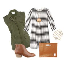 Pair a dress with a military style vest, booties and clutch for an easy-going style that's perfect for fall.
