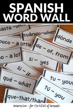 Build Spanish vocabulary quickly! Post 60 Spanish high frequency words on your bulletin board or use with distance learning lessons to instantly support students on activities all year long. Makes great Spanish classroom decor while providing comprehensible input. Students of all ages will refer to these vocabulary words again and again! Simply post to your bulletin board for a meaningful visual resource. Large fonts are easy to read from the back of the room or while watching class online. Spanish Word Wall, Spanish Words, How To Speak Spanish, Spanish 1, Spanish Sayings, Spanish Vocabulary, Vocabulary Words, Vocabulary Games, Middle School Spanish
