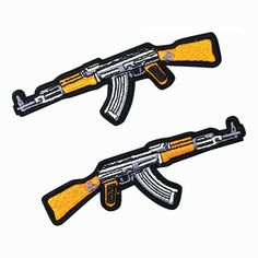 2PCS AK47 Automatic Rifle Patch Embroidered Gun Iron On Sew On Patches