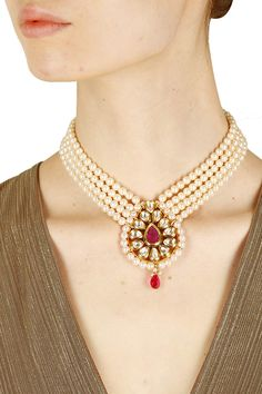 Gold finish pearl and kundan studded lariyat necklace available only at Pernia's Pop Up Shop.