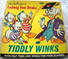 WHITMAN: 1961 Walt Disney Ludwig Von Drake Tiddly Winks Game