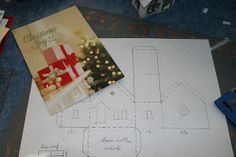 Christmas card to make glitter houses     Putz houses by christmasnotebook, via Flickr