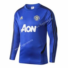2e8ca09ed 2019-2020 Manchester United Camouflage Blue Thailand Soccer Tracksuit  Top-411