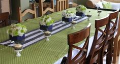 Baby boy shower decoration idea. Navy and lime green.