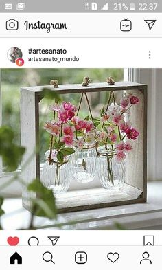 Sweet triptych of vases - Best Home Crafts - Vase ideen Creation Deco, Deco Floral, Wooden Decor, Wooden Crates, Garden Art, Garden Ideas, Wood Projects, Craft Projects, Floral Arrangements