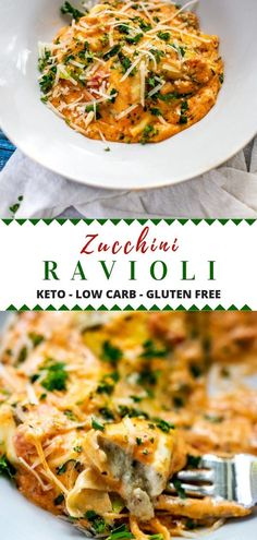 Zucchini Ravioli Ditch the carbs with this healthy alternative to ravioli! This Zucchini Ravioli recipe has all of the flavors that you love in one low carb, gluten free, and keto friendly casserole! I have made it with chicken but you can easily make it Vegan Keto, Dieta Vegan, Vegetarian Keto, Vegetarian Italian, Zucchini Ravioli, Chicken Ravioli, Recipe Zucchini, Low Carb Recipes, Diet Recipes