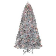 7ft pre lit artificial christmas tree silver tinsel alberta spruce multicolored lights target - Christmas Tree Target