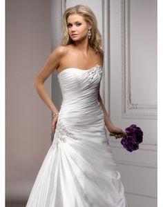 Satin Sweetheart Appliques Ruching Trumpet Wedding Dress