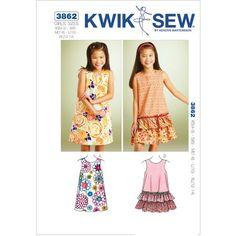 Kwik Sew Pattern A-Line Dresses, XS(4, 5) S (6) M (7, 8) L (10) XL (12, 14)