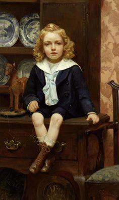 Harriette Sutcliffe (English, active 1881 - 1922): The toy horse (1900) (via Bonhams)