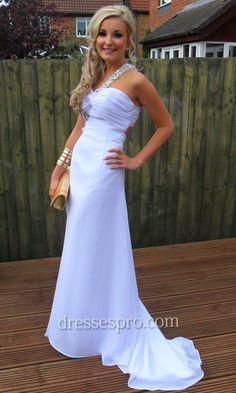 Rosettes One Shoulder White Long Prom Dress DPPD1292 [DPPD1292] - £106.00 : 2011 - 2012 UK Cheap Prom Dresses, Formal Gowns, Evening Dresses At Dressespro