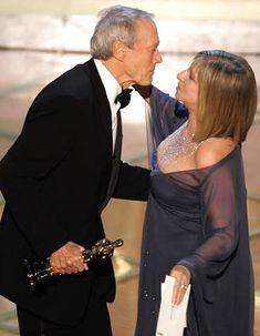 Barbra Streisand Bikini   Clint Eastwood kisses Barbra Streisand as he accepts the Oscar for ...