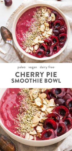 Cherry Smoothie Bowl (Vegan, Paleo), Food And Drinks, This cherry smoothie bowl is so bright and refreshing yet totally filling. With only a handful of ingredients, this cherry smoothie bowl comes togethe. Fruit Smoothies, Smoothies Vegan, Cherry Smoothie, Healthy Breakfast Smoothies, Healthy Breakfasts, Healthy Snacks, Breakfast And Brunch, Paleo Breakfast, Perfect Breakfast