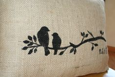 fabric paint on burlap. Would make a perfect valance. Ties in perfect with my other curtains! Add to a pillow on the couch! Perfection!