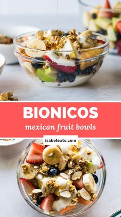 Bionicos (Mexican Fruit Bowls) are a refreshing and sweet dessert you can enjoy for breakfast or a healthy snack! Made with fresh fruit, a sweet cream sauce, and lots of toppings, this popular Mexican street food is easy to make and ready in less than 10 minutes.