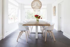 Scandinavian interior with chairs by Hay and stylish oak table. Scandinavian interior with chairs by Hay and stylish oak table. Interior, Dining Inspiration, Dining Table, Home Decor, Kitchen Dining Room, White Kitchen Table, Dining Room Table, Dining Suites, Dining Chairs