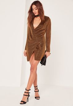 Missguided - Bronze Metallic Wrap Dress