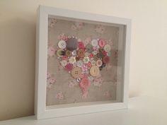 Pink Flower Box Frame Button Art