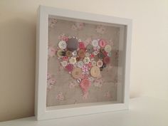 Pink Flower Box Frame Button Art