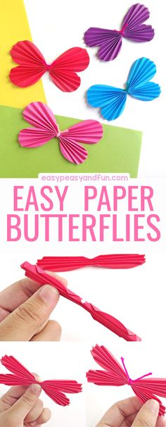 How to Make a Paper Butterfly! A fun and colorful craft for kids to make during a spring or insect unit!