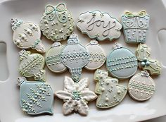 Blue Green and Pearl Christmas Cookies