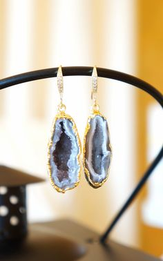 Luminous Starry Night Geode Druzy Earring  Agate by VintagePinch, $67.99 #etsy #want #need #musthave #bridal #fblogger #fashionfind #loveit #weddingblogger #instyle #vogue #bostonblogger #nyblogger #momblogger #momfashion #trendy #fallfashion #new #sfblogger #fashionblogger #mystyle