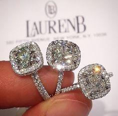 Lauren B Cushion Cut Engagement Rings