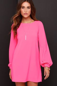 Hot pink shift dress. So cute for Spring!