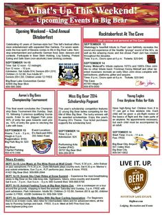 This week in Big Bear. bass fishing, free airplane rides, tribute bands on Friday and Saturday night.