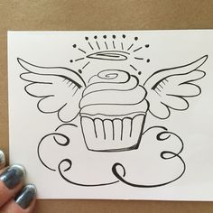 Floating angel Cupcake on a cloud drawing using sharpies. for a birthday card Black And White Lines, White Ink, Angel Sketch, Le Tattoo, Cloud Drawing, Cupcake Drawing, Original Tattoos, Birthday Cards, Birthday Ideas