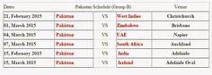 Pakistan Matches Schedule For Cricket World Cup 2015  http://worldcup2015updates.blogspot.com/2014/11/pakistan-matches-schedule-for-cricket.html