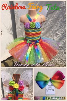 Goody Tutu Shoes Rainbow fairy tutu dress Soft and stretchy crochet top with removable chiffon roses and two layers of tulle finished off with rainbow. Rainbow Fairies, Rainbow Ribbon, 3 Weeks, Tutu, Hair Clips, Crochet Top, Sunshine, Layers, Goodies