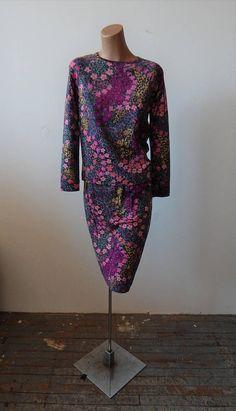 Vintage 1970s Goldworm Knit 2 Piece Dress 36 Bust