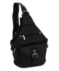 Womens Leather Convertible 7 Pocket Medium Size Tear Drop Sling Backpack BAG #RomaLeathers