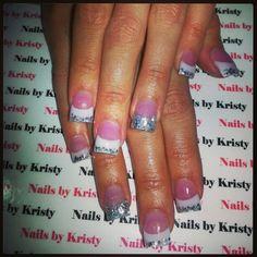 Pretty pink and whites acrylic glitter nails #NailsbyKristy# #pureplatinumsalonandspa