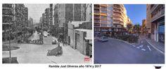 Rambla Just Oliveras año 1974 y 2017