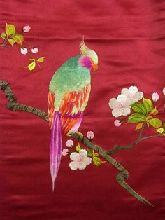 Cute Parrot Embroidery Taisho Obi #238054 Kimono Flea Market Ichiroya