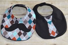 Mustache and Tie Bib Set with Argyle Print for Baby Boys