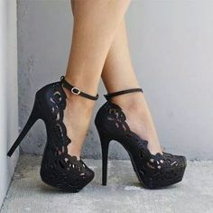 Black lace stilettos