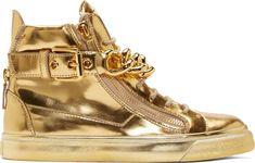 Giuseppe Zanotti - Gold Mirrored Leather London High-Tops
