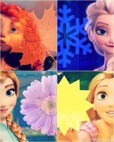 Disney Princesses as Seasons - Merida - Elsa - Anna - Rapunzel