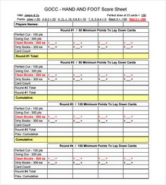 Hand And Foot Score Sheet Template  Hands    Scores