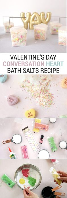 This Valentine& Day bath salts recipe smells like candy has little pops of color just like classic conversation hearts candies! It& perfect for children or adults and would make great kids& DIY Valentine& Day party favors. Bath Bomb Recipes, No Salt Recipes, Valentines Day Party, Valentine Day Crafts, Conversation Hearts Candy, Bath Salts Recipe, Converse With Heart, Bee Crafts, Kid Party Favors