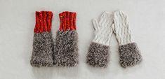 ファーのミトンとレッグウォーマー | 編み物キット販売・編み方ワークショップ|イトコバコ