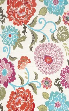 The Poppy Scrolls Outdoor Rug features a large floral print and bright color combination.  Made for the outdoors, this rug also makes a great area or accent rug for a child's bedroom, nursery, or play area because of its easy to clean and durable qualities
