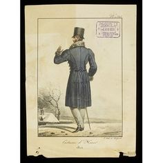Hand-coloured fashion plate showing men's dress. A man in a wintry landscape, back view, wearing a top hat and a dark blue coat with frogged seams and brandenburg fastenings down the front (just visible), fur collar and cuffs, and grey trousers.